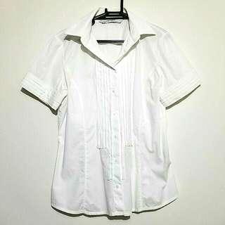 Zara Trf White Button Down Short Sleeve Shirt