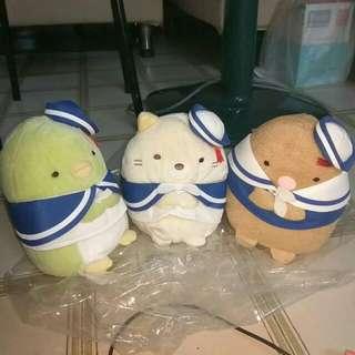[All 3 $45] Sumikko Gurashi: Marine Theme Sailor Penguin, Neko & Tonkatsu 15cm Plushes