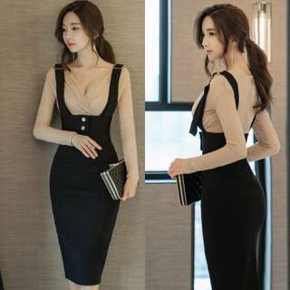 Korean Style V Neck Top With Wrap Skirt