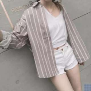 Brown and white stripe oversized boyfriend shirt