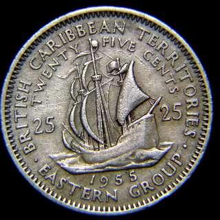1955年英屬加勒比海東部列島名船金鹿號(Golden Hind)25仙鎳幣(英女皇伊莉莎伯二世像)