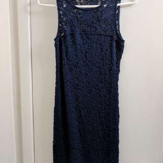 H&M blue lace bodycon dress size s