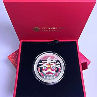 Republic of Chad Silver Happy Chinese New Year 2018 - Lion Dance - Proof - 1 oz