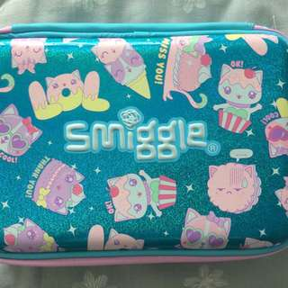 Smiggle Says Double Hardtop Pencil Case (Blue)