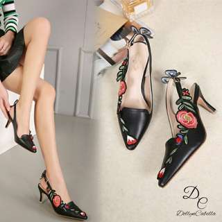 Dollyn Cabella Quitta Ace Embroidered #8328-28#m  Colour 5: Black Pink Silver Red White Come in size:(36,37,38,39,40) Insole size 36:23,5cm 37:24cm 38:24,5cm 39:25cm 40:25,5cm  Berat 6ons Tinggi heels 7cm Material kulit halus bermotif bunga
