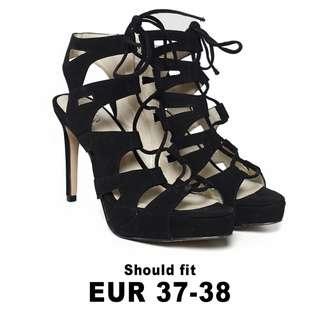 Love, Bonito Luna Lace Up Heels in Black