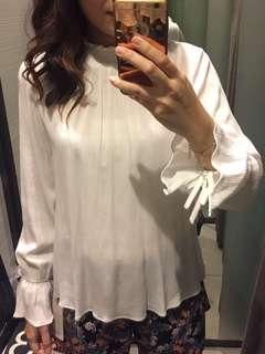 Zara high neck bell sleeve top