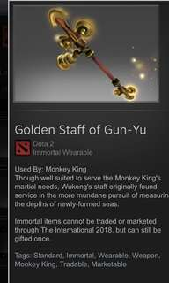 Dota 2 - Golden staff of gun-yu (monkey king)