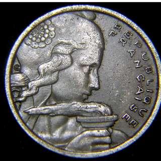 1955年法蘭西共和國(France)自由女神火把照大地100法郎(Francs)鎳幣