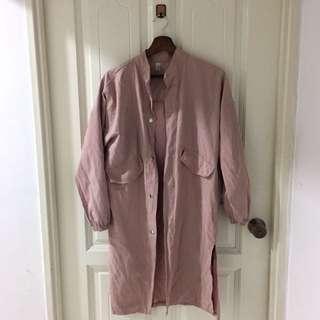 Ulzzang dusty pink parka trench coat