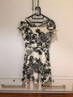 Ezra Floral Black & White Dress (Size XS)