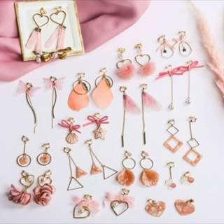 [PO] Ear Clip Pink Tassel Earrings