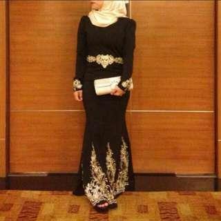 Black & gold dinner dress