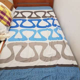Latham wooden bed frame (single size) comes with a mattress