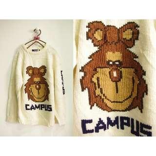 這裡 Zhè lǐ日本古著店購入,動物造型可愛卡通圖樣白色圓領毛衣