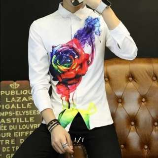 LOOKING FOR: Rainbow rose long sleeve shirt with collar and button down