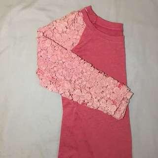 Pink Longsleeves Lace