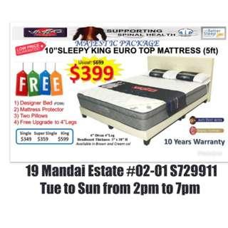 "King Divan Bed + 10"" Eurotop Spring Mattress"