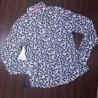 正品95%新Anne klein silk blouse shirt floral blue 恤衫