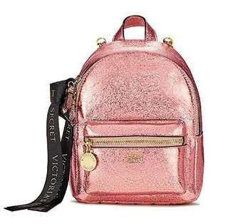 BN! Victoria's Secret Pink Metallic Crackle Mini City Backpack