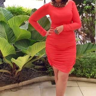 Orange Body-con Midi Dress