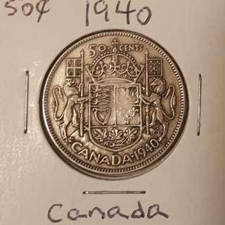 1940 Canadian 50 Cent Piece