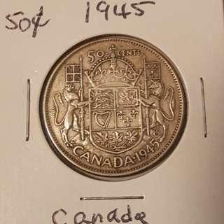 1945 Canadian 50 Cent Piece