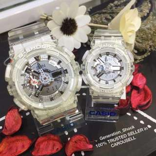 COUPLE💝SET in BABYG & GSHOCK DIVER WATCH : 1-YEAR OFFICIAL WARRANTY: 100% Originally Authentic BABY-G-SHOCK Resistant in CRYSTAL CLEAR Absolutely Toughness Best For Most Hardcore Rough Users & Unisex : BA-110CR-7ADR / GA-110CR-7ADR / GA-110 / BA-110