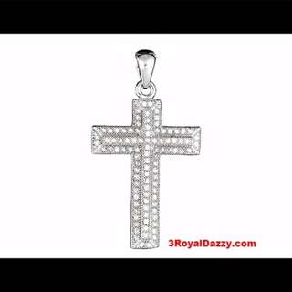 Brand New Cross Pendant Micro Pave CZ .925 Sterling Silver