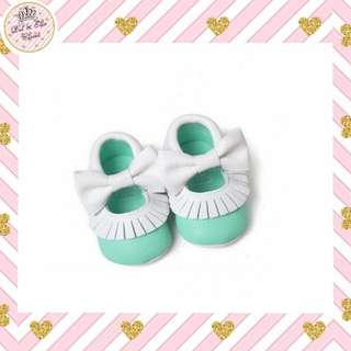 ⏰Limited Time Offer! Baby Teal Bow Moccasins
