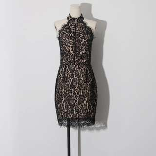Black Halter Neck Lace Dress