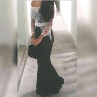 White black off shoulder long dress bodycon