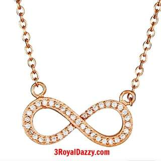 14k Rose gold on Sterling Silver Infinity Symbol Pendant Necklace