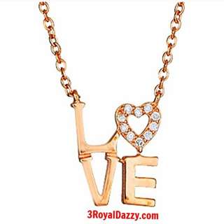 14k Rose gold layer on sterling Silver Heart Letters Pendant Necklace