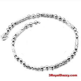 "Brand New Women Handmade solid 990 Fine Silver Bracelet 4mm 7""inches"
