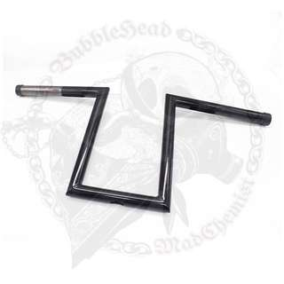 "Black Handlebar 25"" thickness, 10"" rise, 24"" Width, 3"" Pullback, 6"" center width"