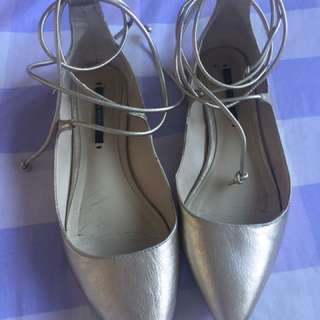 Zara Gold Ballerina Flats