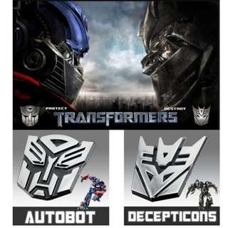 Transformer 3D Chrome Sticker