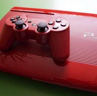 PS3 Slim Red 500GB 2 Controller + Naruto Ninja Storm Revolution