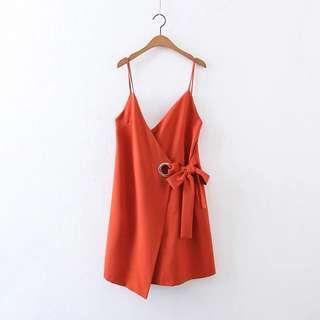 Orange Ring Halter Dress