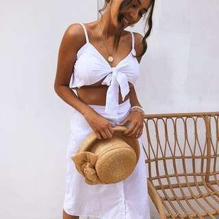 ➰ kissablebella - SET • white tie top/skirt