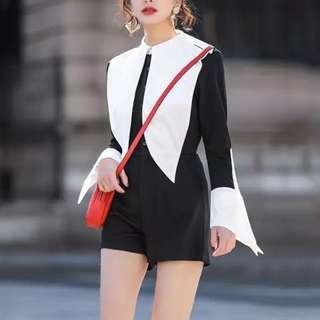 🔱 Designer Inspired Tailored Monochromatic Playsuit