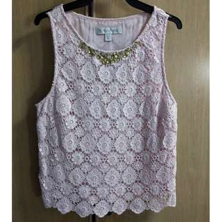 Preloved Sleeveless Lace Top with Embellishment in Size M