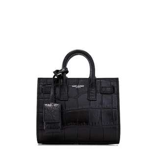 Saint Laurent Sac De Jour classic toy black crocodile enbossed leather
