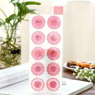 包平郵) 韓國圓形粉紅色蕾絲透明手帳封口diy貼紙
