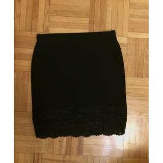 Bodycon Skirt W/ Mesh Detail