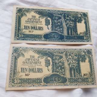 Old $10 Sg Banana notes during WW2