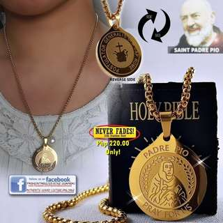 PADRE PIO Gold Medal Necklace in Stainless Steel