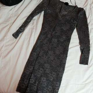 Grey lace long sleeved dress