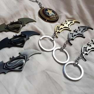 Batman, Batman vs Superman, captain america Keychains